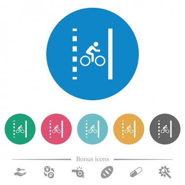 Bicycle lane flat white icons on round color backgrounds. 6 bonus icons included. icon