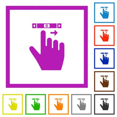 Right handed scroll right gesture flat color icons in square frames on white background icon