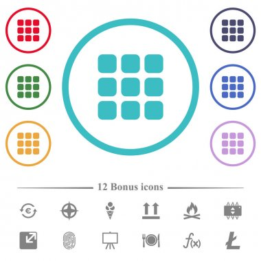 Small thumbnail view mode flat color icons in circle shape outlines. 12 bonus icons included. icon