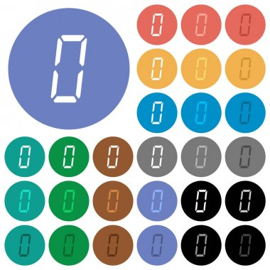 Digital number zero of seven segment type multi colored flat icons on round backgrounds. Included white, light and dark icon variations for hover and active status effects, and bonus shades. icon