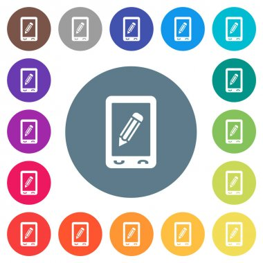 Mobile memo flat white icons on round color backgrounds. 17 background color variations are included. icon