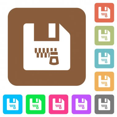 Zipped file flat icons on rounded square vivid color backgrounds. icon