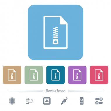 Compressed document white flat icons on color rounded square backgrounds. 6 bonus icons included icon