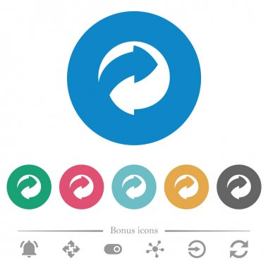 Eco packing symbol flat white icons on round color backgrounds. 6 bonus icons included. icon