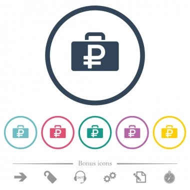 Ruble bag flat color icons in round outlines. 6 bonus icons included. icon