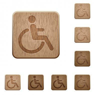 Disability wooden buttons