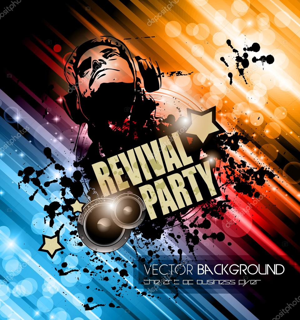 Club Disco Flyer template with Music Elements — Stock Vector ...