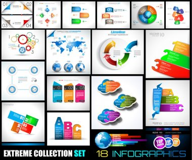 Collection of 18 Infographics for social media and clouds