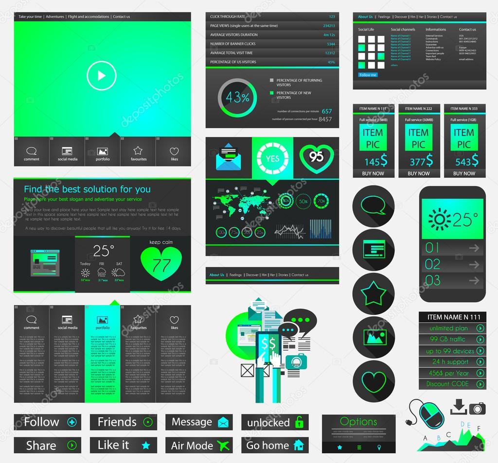 Page Website Flat Ui Design Stock Vector Davidarts 53398511