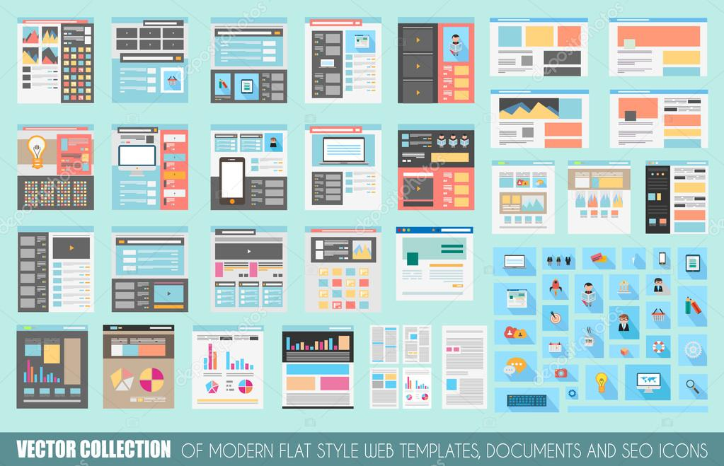 Collection of Flat Style Website templates