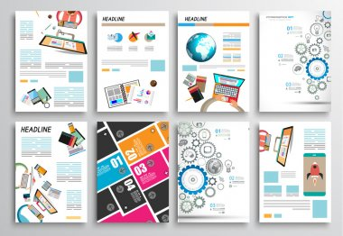Set of Flyer Design, Web Templates. Brochure Designs, Technology Backgrounds. Mobile Technologies, Infographic ans statistic Concepts and Applications covers. stock vector