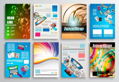 Set of Flyer Design, Web Templates. Brochure Designs, Technology Backgrounds. Mobile Technologies, Infographic ans statistic Concepts and Applications covers stock vector