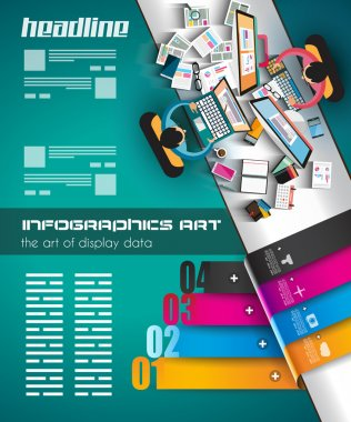 Infographic teamwork with Flat style