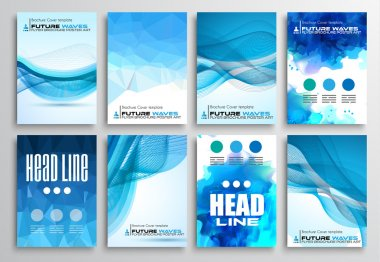 Set of Flyer Design, Infographics Brochure Designs, Technology Backgrounds. Mobile Technologies, Teamworks and statistic Concepts and Applications covers. stock vector