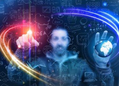 Man touching a glass panel