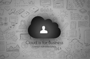 Cloud Computing with infographics sketch set
