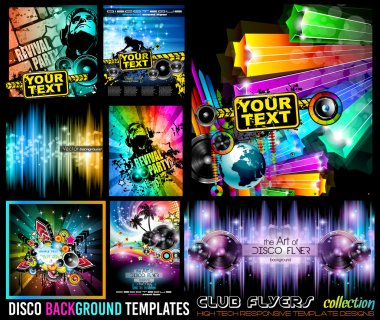 Big Set of Disco Club Flyer Template