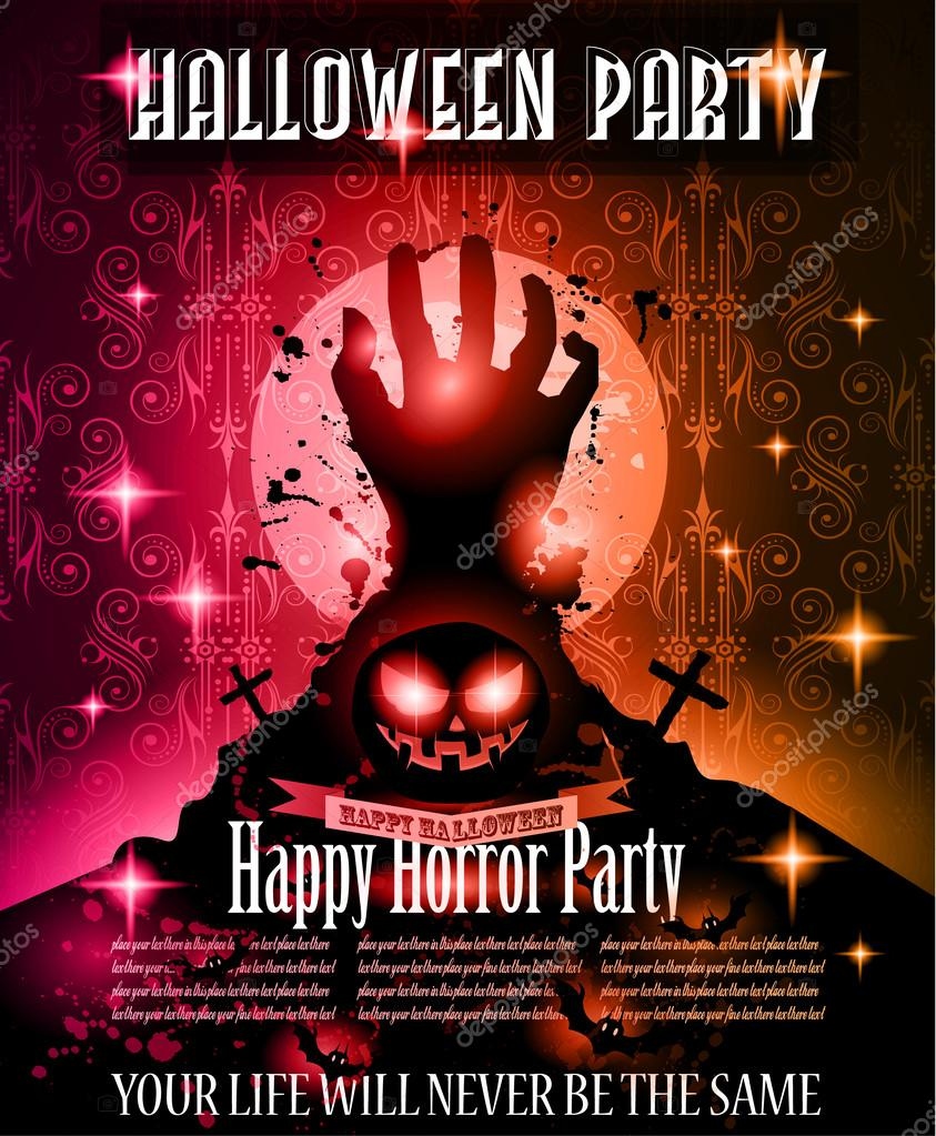 halloween night event flyer party template stock vector