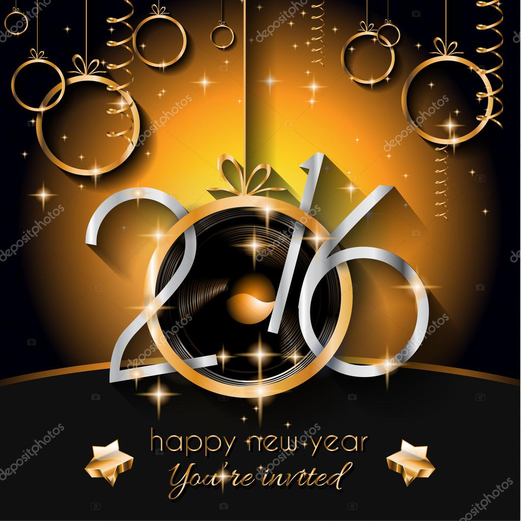 2016 happy new year party flyer stockvektor davidarts 86768092