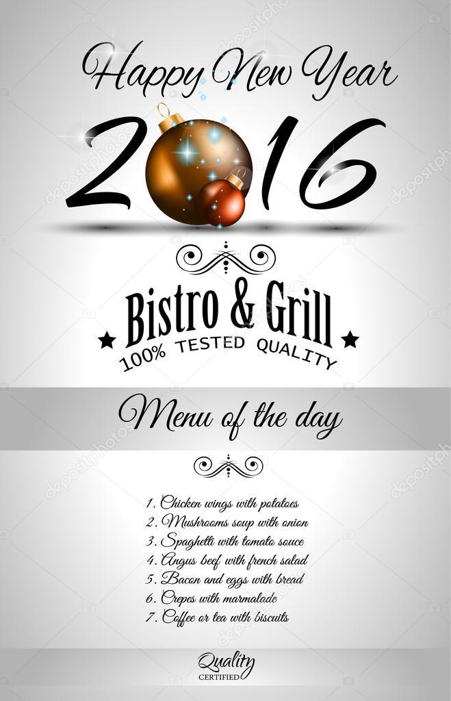 2016 año nuevo menú del restaurante plantilla — Archivo Imágenes ...