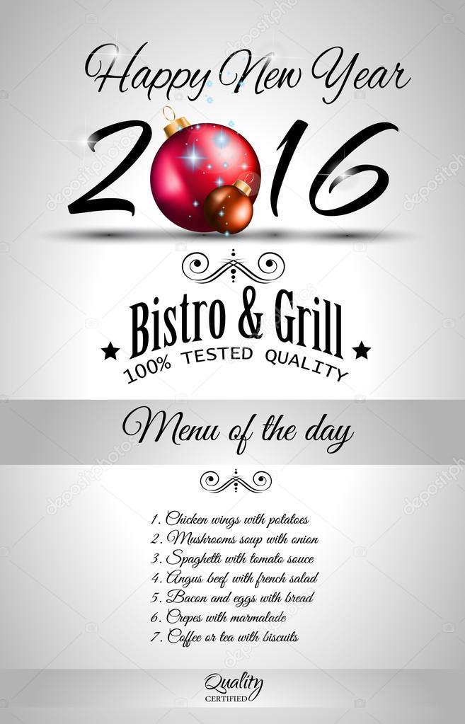2016 Año Nuevo Menú Del Restaurante Plantilla Archivo