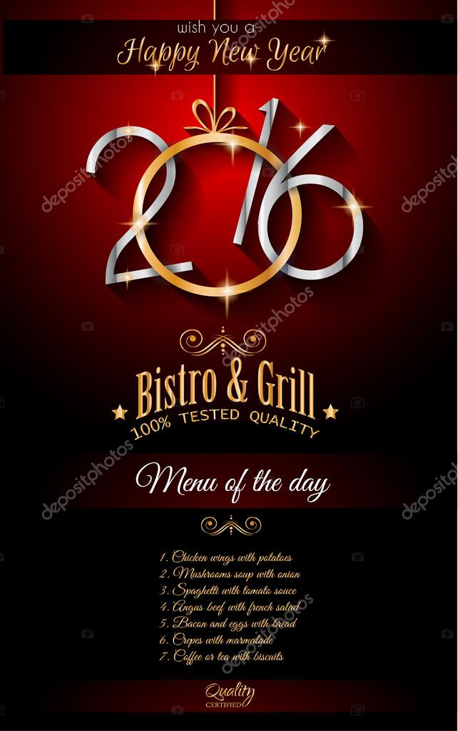 2016 New Year Restaurant Menu Template Stock Vector DavidArts