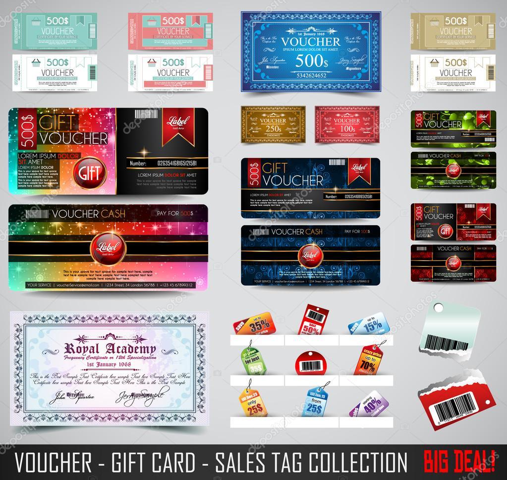 Plantillas de diseño de tarjeta de regalo de vales — Vector de stock ...