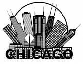 Panorama města Chicago černé a bílé v kruhu ilustrace