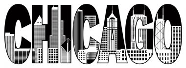 Chicago City Skyline Black and White Text Illustration