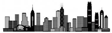 Hong Kong City Skyline Black and White Illustration