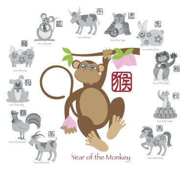 Chinese New Year Monkey Color with Twelve Zodiacs Vector Illustration