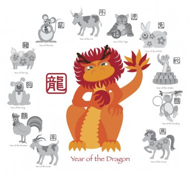 Chinese New Year Dragon Color with Twelve Zodiacs Vector Illustration