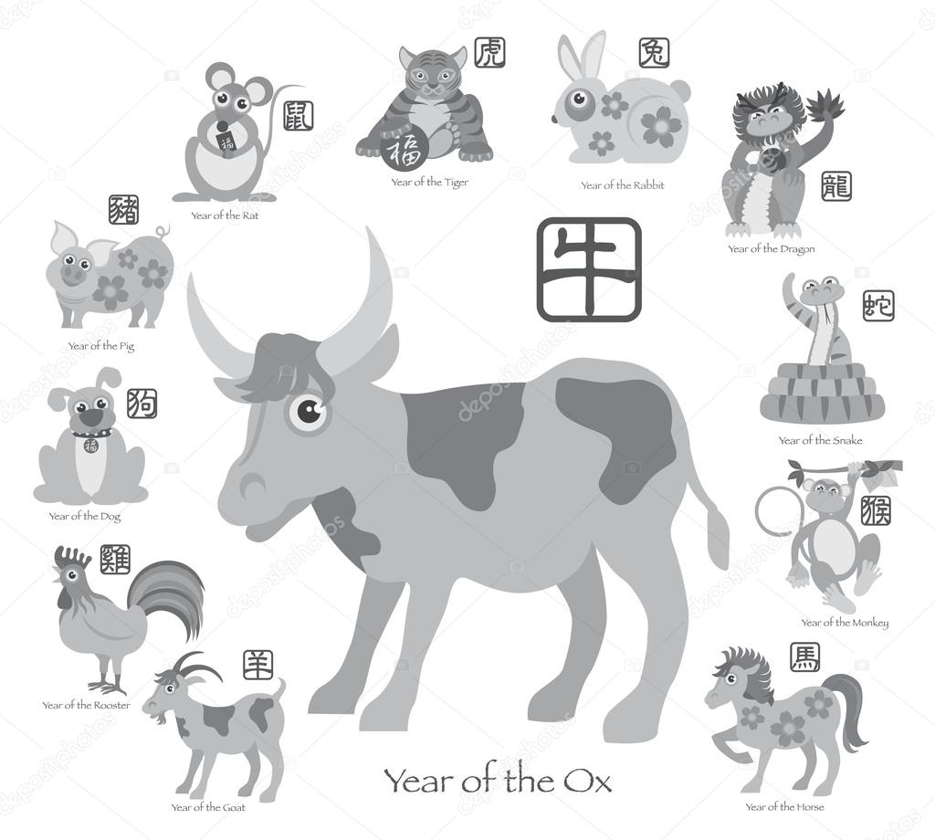 Chinese New Year Ox With Twelve Zodiacs Illustration Stock Vector