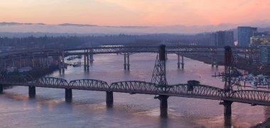 Sunrise Over Bridges of Portland Oregon