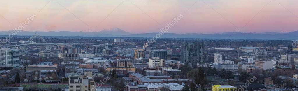 View of Portland Pearl District Cityscape at Sunset