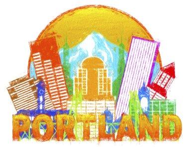 Portland Oregon Skyline Circle Color Impressionist Illustration