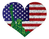 4th of July Heart Flag and Statue of Liberty Vector Illustration