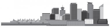 Vancouver BC Canada Skyline Grayscale Vector Illustration