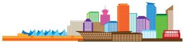 Vancouver BC Canada Skyline Color Vector Illustration