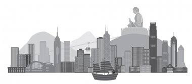 Hong Kong Skyline with Junk Boat and Buddha Statue Vector Illustration