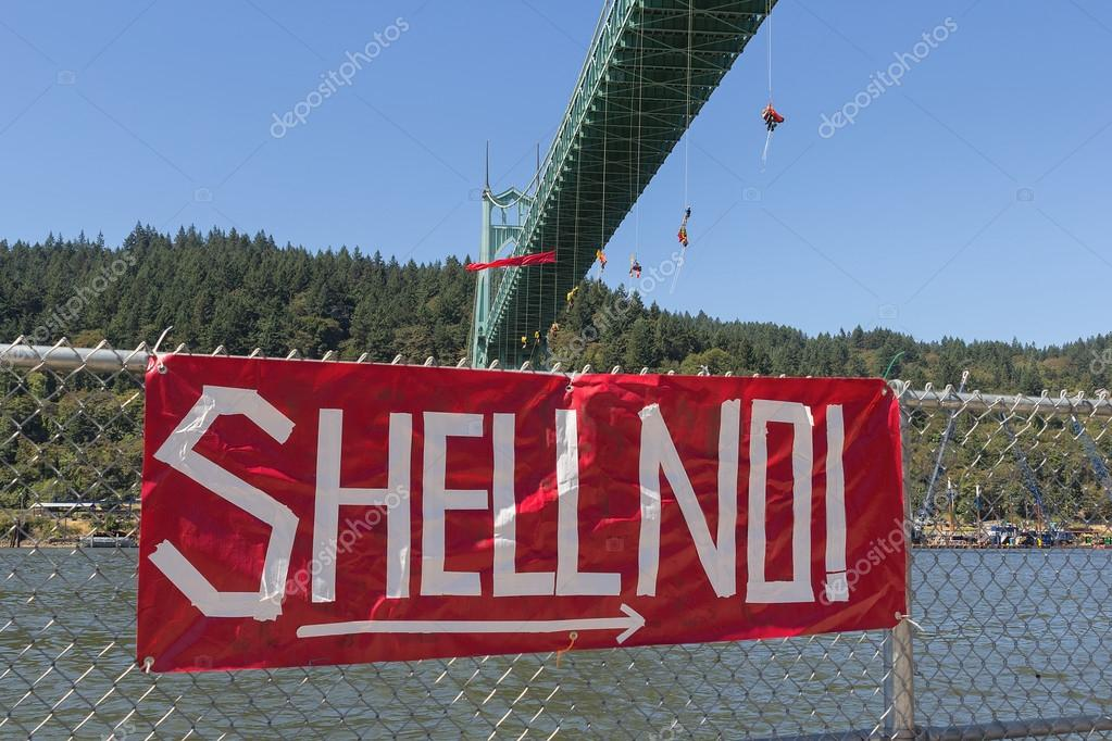 Greenpeace Activists Dangling Over St Johns Bridge with Sign