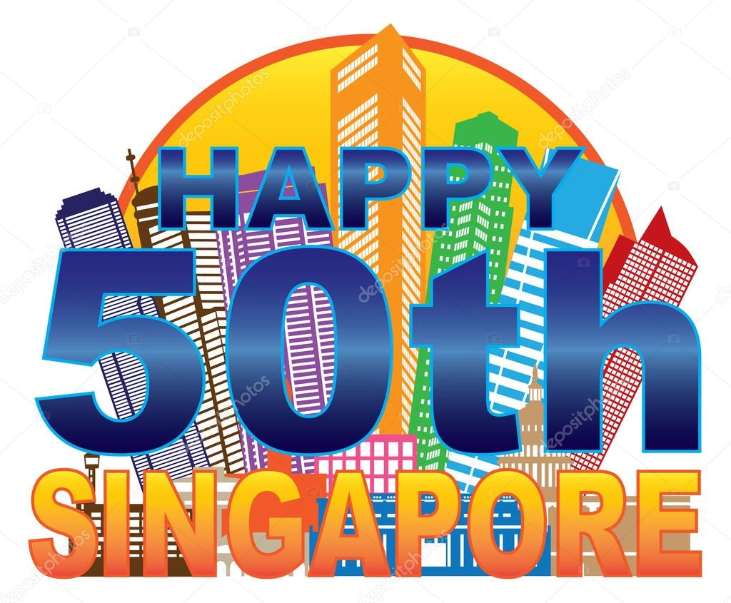 Singapore 50th National Day Skyline Circle Color Vector Illustration