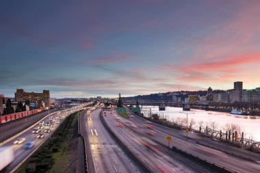 Portland Freeway Rush Hour Traffic