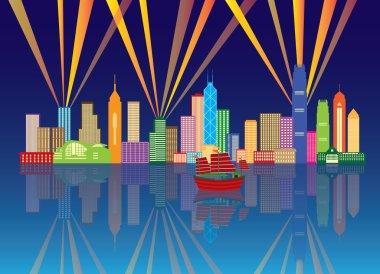 Hong Kong City Skyline Night Color Panorama Vector Illustration