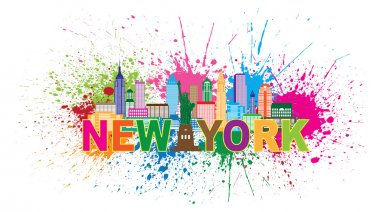 New York City Skyline Paint Splatter Illustration
