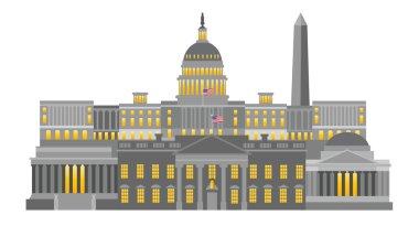 Washington DC Monuments and Landmarks Vector Illustration