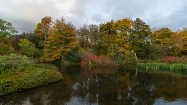 UHD 4k časová prodleva film temné pohybující mračna nad rybníkem vody odraz podzimních barvách podzimu v Crystal Springs zahradě 4096 x 2304