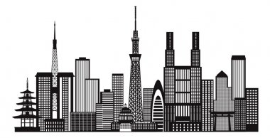 Tokyo City Skyline Black and White Illustration