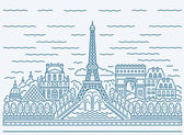 Fotografie Paris city skyline view with Eiffel Tower, Triumphal arch, The N