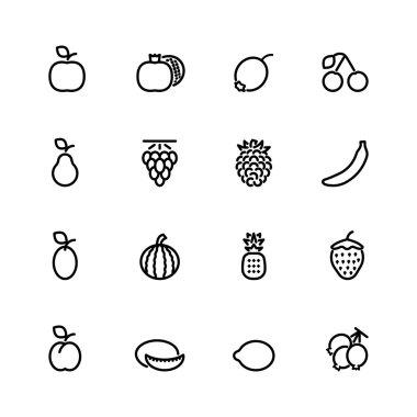 fresh fruit icon set